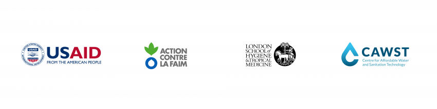Logos, from left to right: USAID, Action contre la Faim, London School of Hygiene & Tropical Medicine, and CAWST