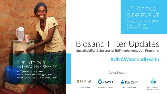 Poster for the Biosand Filter Updates Side Session co-convened by CAWST at 2018 UNC Water & Health