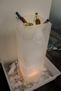 a festive ice biosand filter made by CAWST staff