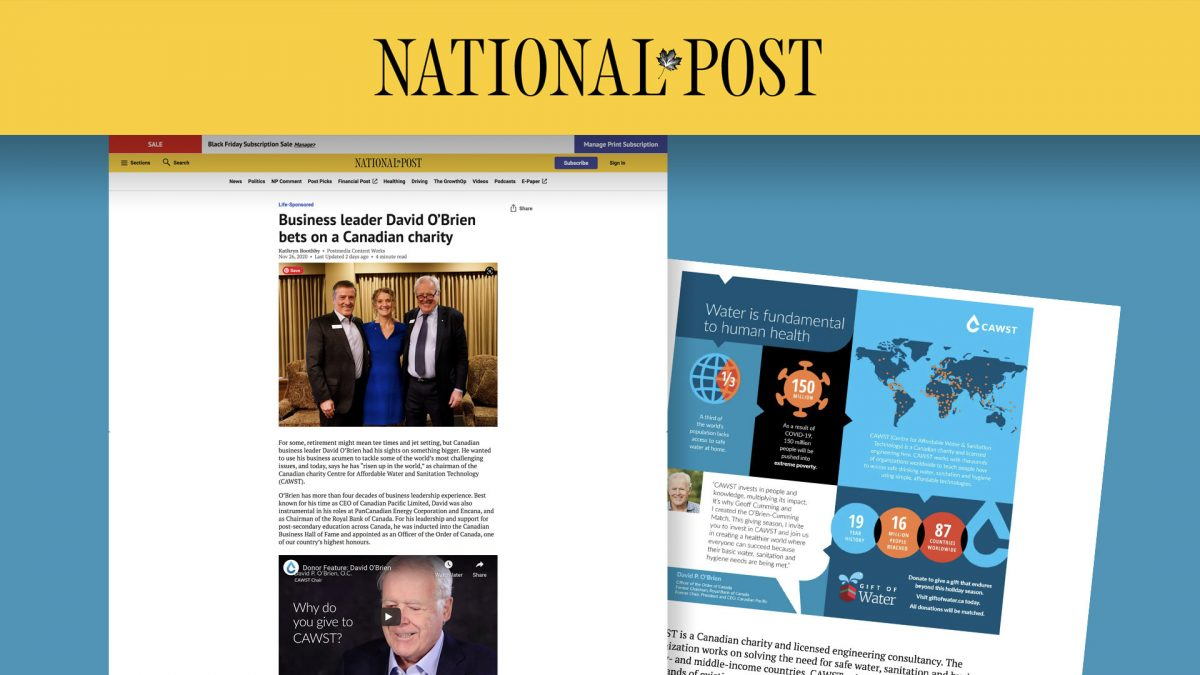 CAWST in the News: Chairman profiled in National Post