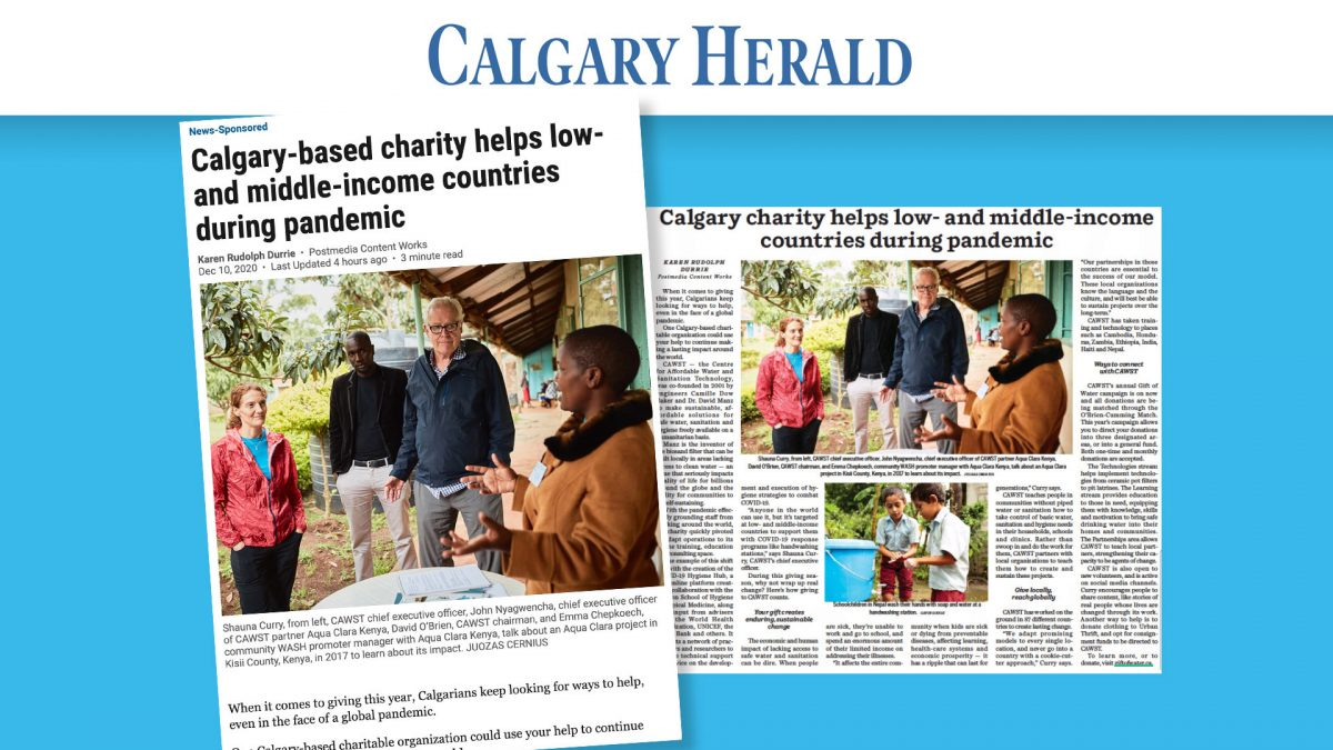 CAWST In the News: Gift of Water Campaign Featured in Calgary Herald