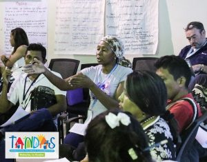 Dalia Molina shares her experience at an event on household water treatment and safe storage in Colombia